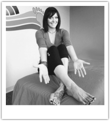 Jeni Spring, LMT, MTI. Ashiatsu Oriental Bar Therapy Instructor, owner of Heeling Sole Barefoot Massage